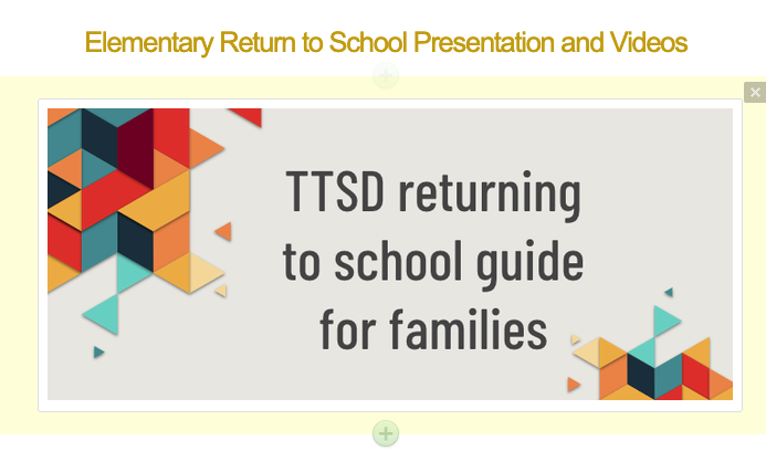 TTSD Returning to School Guide for Families