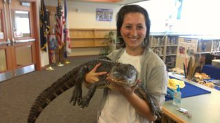 Mrs. Lepore with a crocodile