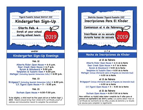 Kindergarten Sign-Up Night Schedule
