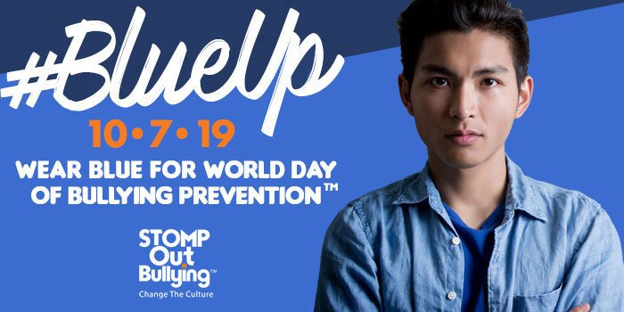 October is Anti-Bullying month-Wear blue on October 7th to stand in solidarity to end bullying