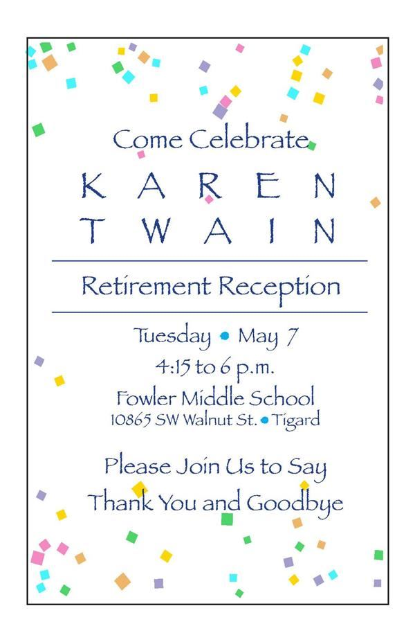 Reception 4:15 to 6 PM, Fowler Middle School